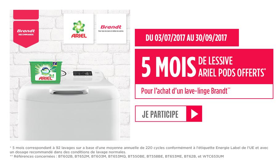 5 mois d'Ariel pods offert pour l'achat d'un lave-linge Brandt