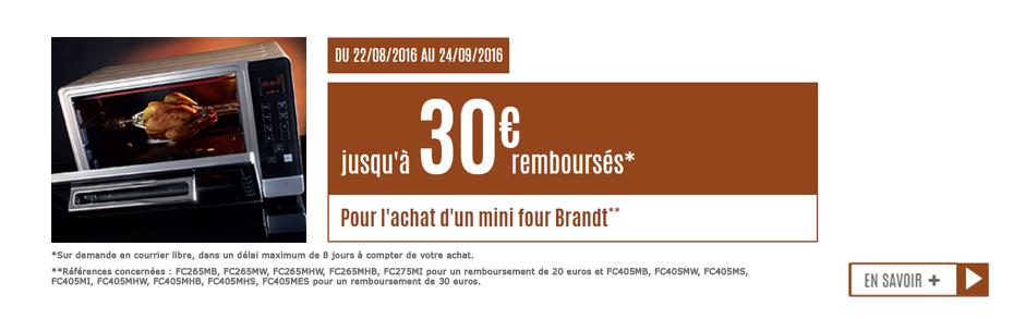 offre de remboursement mini fours Brandt 30euros
